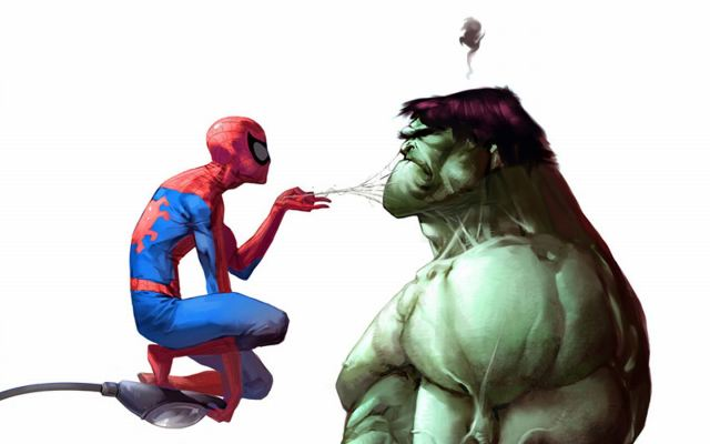 Spiderman-Teasing-The-Hulk